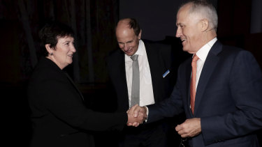 Business Council chief executive Jennifer Westacott, Grant King and Prime Minister Malcolm Turnbull at a business showcase on  Tuesday.