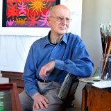 Artist John Coburn in his Lindfield studio in 2003.