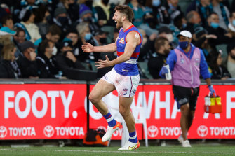 Marcus Bontempelli celebrates a goal during the Bulldogs' win over Port Adelaide.