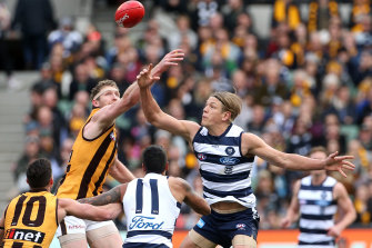 Hawthorn and Geelong clash in round 18 last year. They could meet again when play restarts next month.
