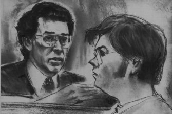 """""""An artist's drawing in a New York court room of Mark David Chapman, who is charged with the murder of John Lennon. December 11, 1980. """""""