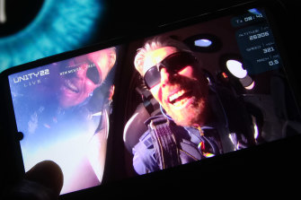 Richard Branson aboard his Virgin Galactic VSS Unity space rocket in early July.