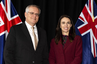 Australian Prime Minister Scott Morrison and New Zealand Prime Minister Jacinda Ardern in Queenstown on Monday.