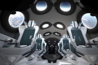 The cabin of a Virgin Galactic starship.