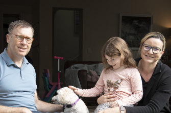 Ben and Katrina from Randwick have Maddie, 5, at home while schools are closed but would happily send her back when they reopen.