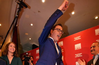 Premier Daniel Andrews cheers Labor's 2018 election win. His Socialist Left faction will this week meet with sections of the Right after earlier this year signing a stability deal.