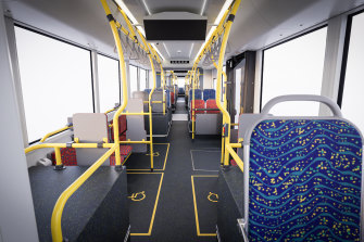 The interior of the vehicles will feature screens with route maps, along with and increase in priority seating and mobility spaces.