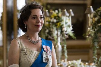 "Olivia Colman portrays Queen Elizabeth II in a scene from the Netflix series ""The Crown""."