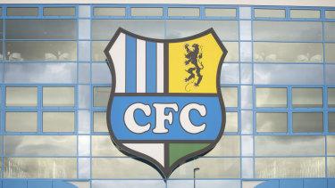 The logo of the Chemnitz FC soccer club at a stadium in Chemnitz, Germany.