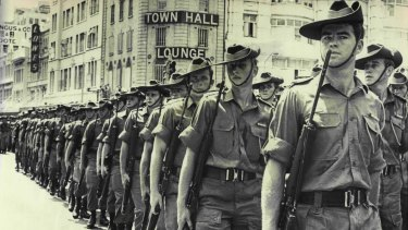 Men from the Fifth battalion march through Sydney on their return from Vietnam in March 1970.