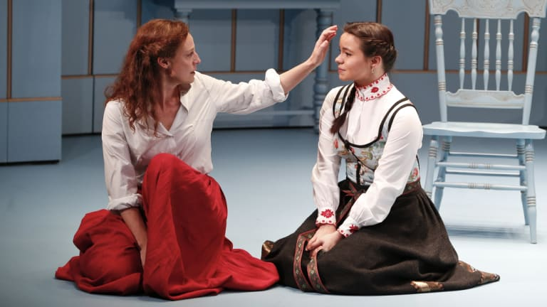 Marta Dusseldorp and Zoe Terakes in the MTC production of A Doll's House Part 2.