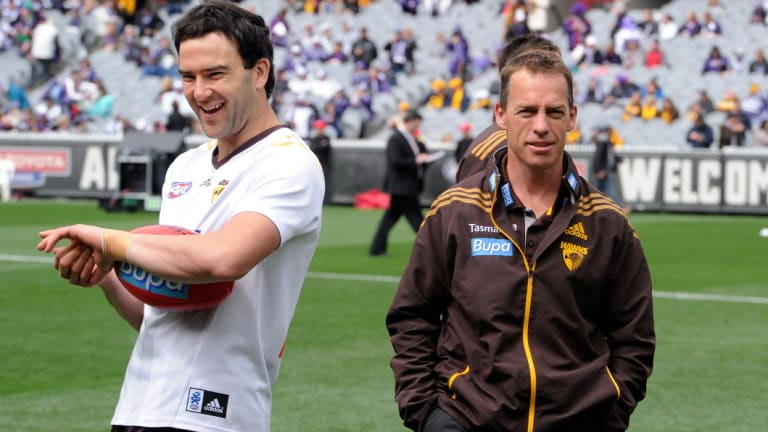 Lewis and Clarkson before the 2013 grand final.
