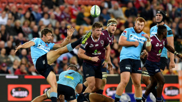 Territory game: Jake Gordon clears the ball for the Waratahs.