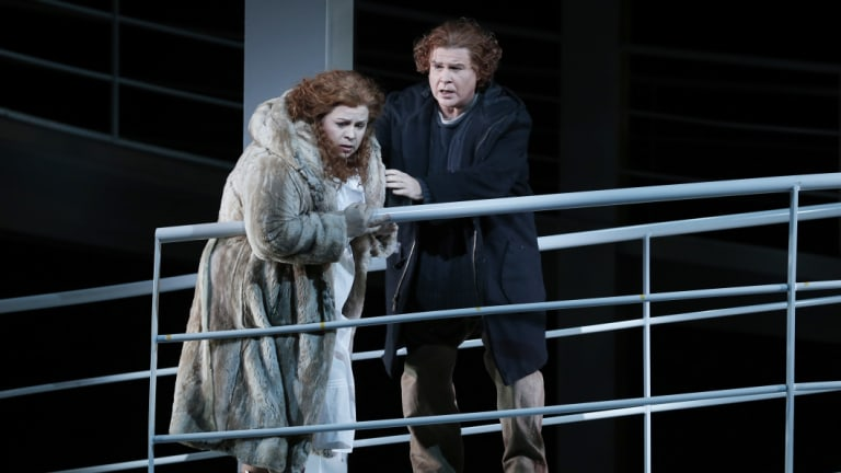 Amber Wagner as Sieglinde and Bradley Daley as Siegmund in Opera Australia's 2016 production of Die Walküre.