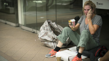 Rock bottom, Leckie gets a taste of life sleeping rough on Sydney's streets in SBS's Filthy Rich & Homeless.