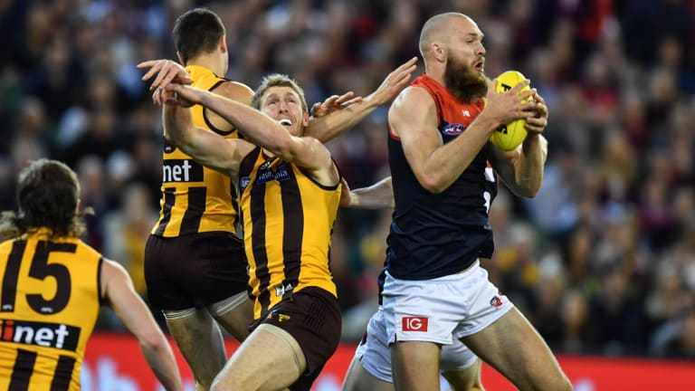 Demons ruckman Max Gawn has led his club's charge to the finals in season 2018.
