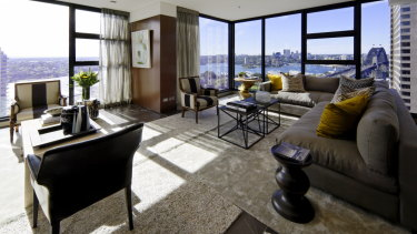 Inside the penthouse apartment at The Rocks.