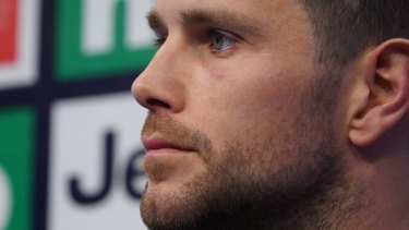 Trent Cotchin at a media conference on Wednesday.