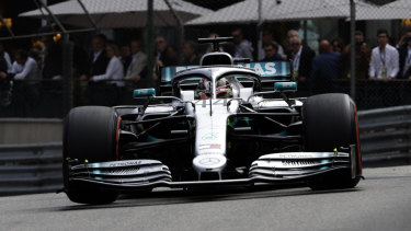 Lewis Hamilton tackles the tight track at Monaco.