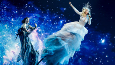 Kate Miller-Heidke's dazzling aerial display at the 64th Eurovision Song Contest.