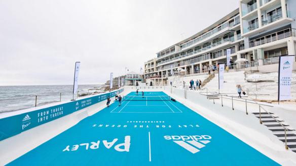 Ocean-free pool shows off recycled ocean plastic wear