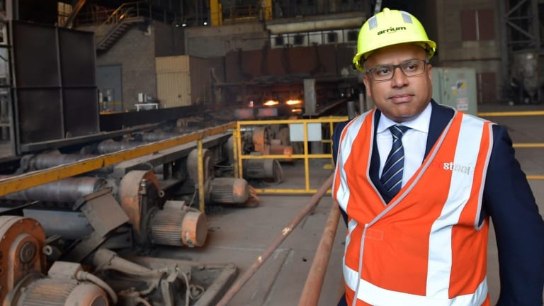 Head of GFG Sanjeev Gupta visits the Arrium Steel plant in Whyalla, South Australia.