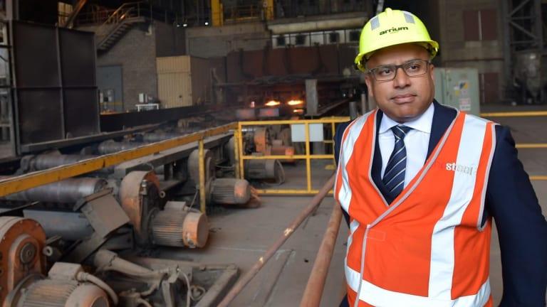 Head of GFG Sanjeev Gupta visits the Arrium Steel plant in Whyalla, South Australia.