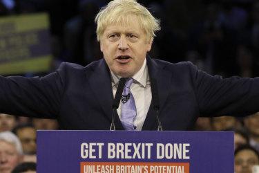 Prime Minister Boris Johnson in full flight at the east London stadium.