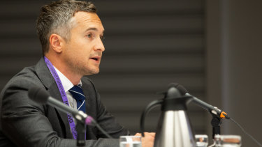 Zip Co chief executive Larry Diamond at a Senate committee hearing in Brisbane in January.