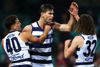 Geelong spearhead Tom Hawkins booted three goals at the SCG.