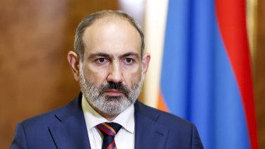 Armenian Prime Minister Nikol Pashinian speaks at the Armenian Parliament in Yerevan, Armenia, on Sunday.