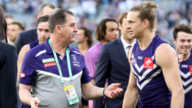 """Ross Lyon and Nat Fyfe: Fyfe has """"nothing but respect"""" for the sacked coach."""
