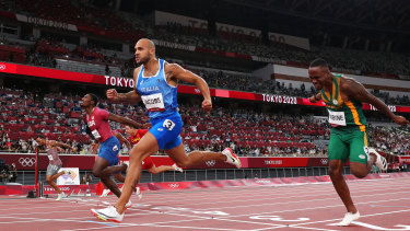 Marcell Lamont Jacobs wins the 100m sprint.
