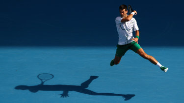 Novak Djokovic on his way to winning the 2020 Australian Open title.