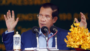 Cambodia's Prime Minister Hun Sen delivers a speech in Kampong Speu province, south of Phnom Penh, at a ceremony to mark construction of the country's first expressway.