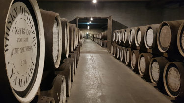 The barrel ageing room of the Suntory's Yamazaki Distillery in the Kyoto prefecture, Japan, in December 2019.