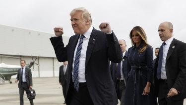 President Donald Trump arrives in Pennsylvania to speak during the September 11th Flight 93 Memorial Service