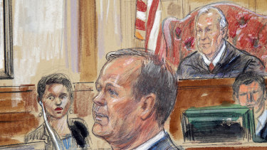 Sketch depicts Rick Gates, right, testifying during questioning in the bank fraud and tax evasion trial of Paul Manafort at federal court in Alexandria, Va. US district Judge T.S. Ellis III presides at top right.