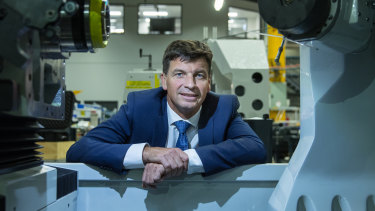 Energy minister Angus Taylor visits Melbourne manufacturer ANCA last week. .