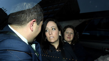 Kaila Murnain leaves the ICAC inquiry into allegations concerning political donations in Sydney.