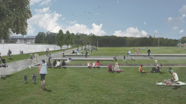 An artist's impression of the revitalised waterfront area at Callan Park.
