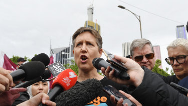 ACTU Secretary Sally McManus rallied with thousands of workers in Melbourne.