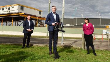 NSW Treasurer Dominic Perrottet, with Premier Gladys Berejiklian and Deputy Premier John Barilaro, on Sunday.