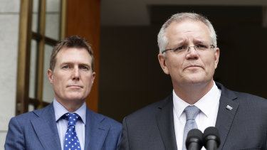 Prime Minister Scott Morrison with Attorney-General Christian Porter, left, who said there were 11 key changes in the second draft of the bill.