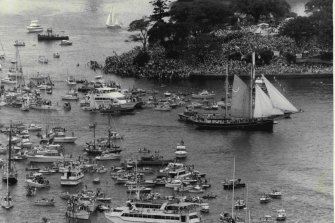 The Australia Day celebrations from the Harbour Bridge on January 26, 1988.