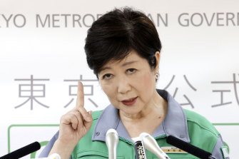 Yuriko Koike, the Governor of Tokyo, where new coronavirus cases have risen to around 50 a day.