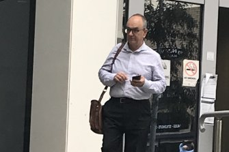 Gregory Harris leaves Bankstown Local Court on Monday.