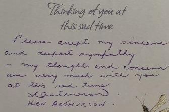 The card iconic Manly figure Ken Arthurson sent the Titmuss family following Keith's tragic death last November.