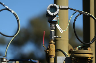 Pressure transmitters display readings on a Santos pilot well operating in the Pilliga forest in Narrabri.