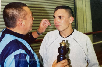 Boris Tszyu with his son, Kostya.